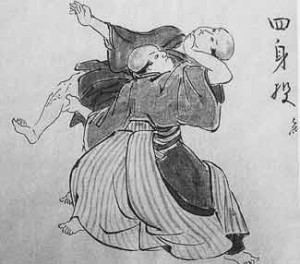 A historical Japanese painting odepciting ancient Edo warriors practicing the art of Judo.